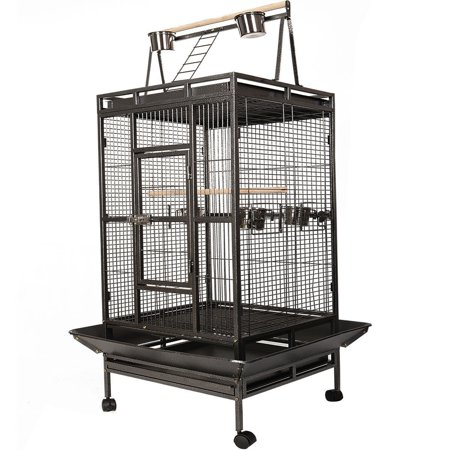 Black Bird Cage with Large Play Top - Black Bird Cage