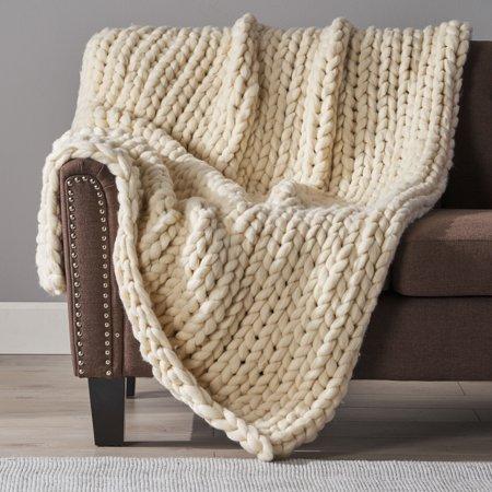 Jacqueline Ivory Acrylic Throw Blanket Portland Acrylic Blanket