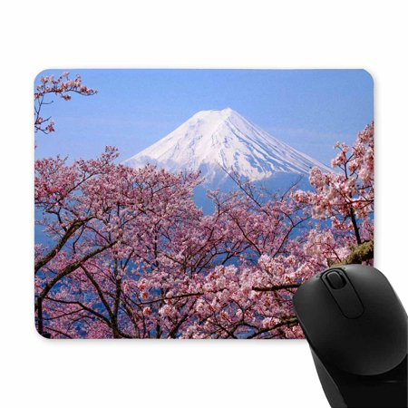 POP Mt Fuji and Cherry Blossom in Japan Spring Season Printed Mousepad Non Slip Rubber Gaming Mouse Pad 9x10 inch - image 1 of 2