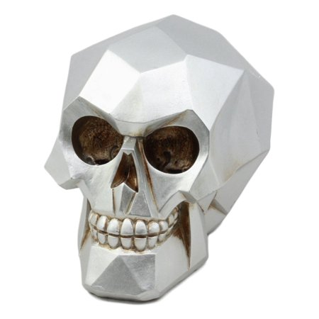 Ebros Matte Silver Vector Matrix Geometric Polygon Skull Statue Halloween Ghost Day Of The Dead Skeleton Head Decorative Figurine 6.25