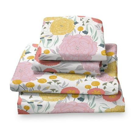 Vintage Floral on White Twin Size Sheet Set, 3 -