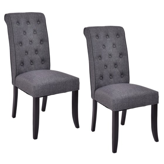 Walmart Dining Chairs: Costway Set Of 2 Dining Chairs Fabric Upholstered Tufted