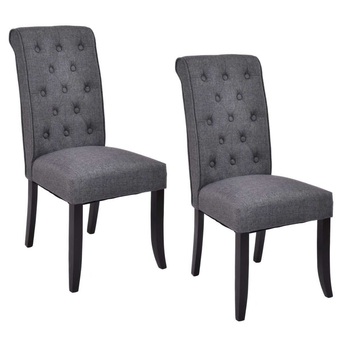 Costway Set of 2 Dining Chairs Fabric Upholstered Tufted Armless Accent Home Kitchen  sc 1 st  Walmart & Fabric Dining Chairs