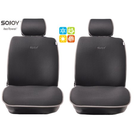 SOJOY Universal Four Seasons Car Seat Cushions for Front Two Seats Comes with 2 Pieces - Honeycomb Cloth - Dark Gray