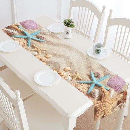 MYPOP Summer Beach Starfish Seashell Table Runner Home Decor 16x72 Inch,Tropical Sandy Beach Starfish Seashell Table Cloth Runner for Wedding Party Banquet Decoration