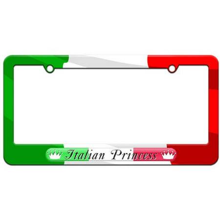 Italian Princess Italy Flag License Plate Tag Frame, Multiple Colors ...
