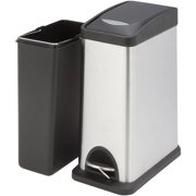 Honey Can Do TRS-06309 8L Rectangular Step Trash Can, Silver/Black