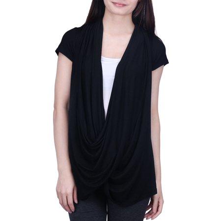 HDE Womens Short Sleeve Nursing Top Criss Cross Lightweight Breastfeeding Shirt (Black, (Daniel Criss)