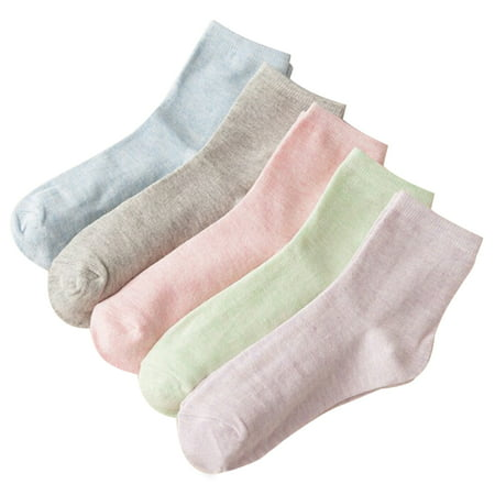 Classic Cotton Ankle Socks (Coxeer 5 Pairs Women's Socks Classic Plain Cotton Ankle Socks Crew Socks Autumn Winter Warm Socks for Women)