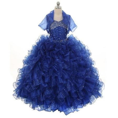 Rain Kids Girls Royal Blue Sequin Sparkly Ruffle Bolero Pageant Dress