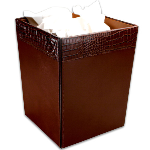 Dacasso 2000 Series Crocodile Embossed Leather 3.5 Gallon Waste Basket