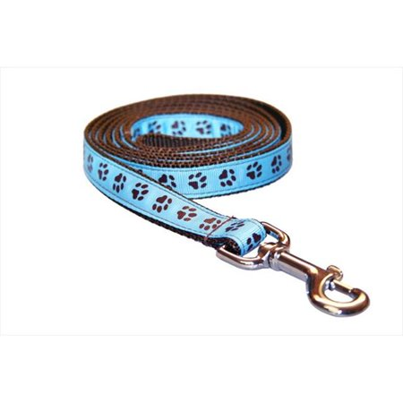 Sassy Dog Wear PUPPY PAWS-BLUE-CHOC.2-L 4 ft. Puppy Paws Dog Leash, Blue & Brown - Small - image 1 de 1