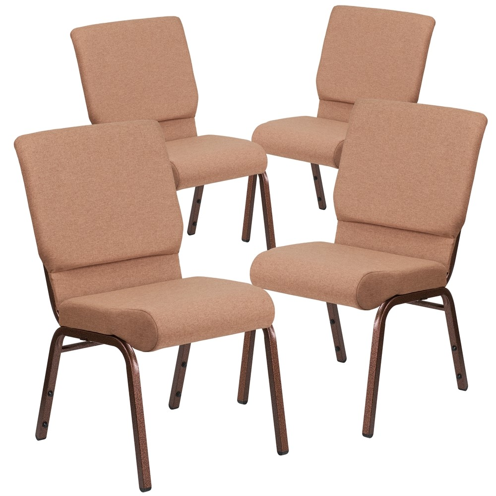 4 Pk. HERCULES Series 18.5''W Brown Fabric Stacking Church Chair with 4.25'' Thick Seat - Copper Vein Frame