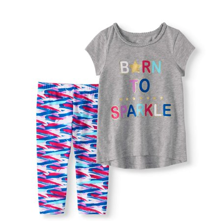 Little Girls' 4-8 Metallic Graphic T-shirt and Capri Legging 2-Piece Outfit Set - Ninja Girl Outfits