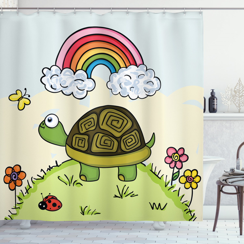 Details about  /Green Sea Turtle and Algae Shower Curtain Bathroom Decor Fabric /& 12 Hooks