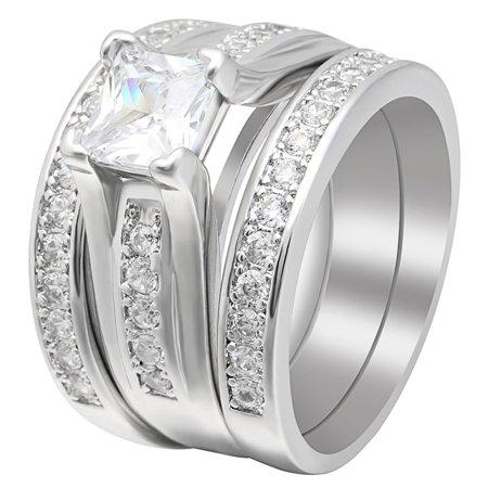 Gorgeous Wedding Rings - Gail Gorgeous 3 Ring Bridal Wedding Ring Set - Ginger Lyne Collection