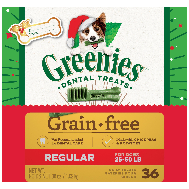 GREENIES Holiday Limited Edition Packaging Grain Free Regular Size Dog Dental Treats, 36 oz. Box (36 Treats)