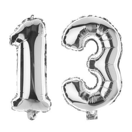 Ella Celebration 13 Number Balloons For 13th Birthday Party 40 Inch Large Mylar Helium Foil Balloon Numbers Silver
