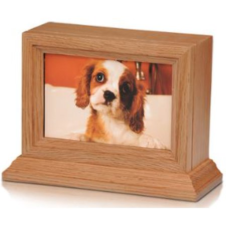 Bogati Birch Wood Photo Frame Urn With Cherry Stain & Glass Front (Oak Wood - Oak)