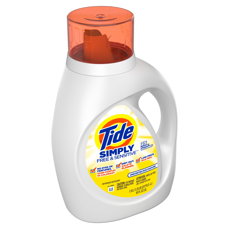 Tide Simply Free Sensitive Liquid Laundry Detergent 40 Oz 25 Loads Walmart Com Walmart Com