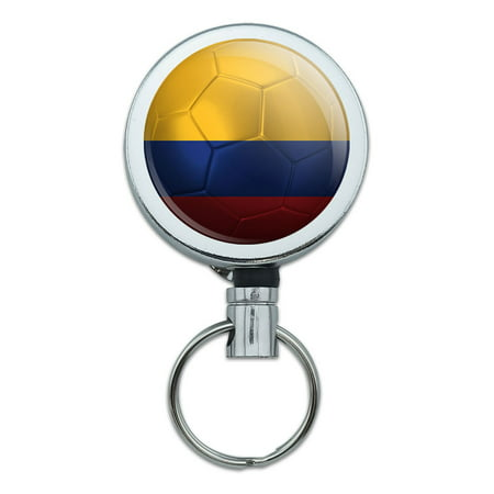 Colombia Home Jersey (Colombia Flag Soccer Ball Futbol Football Retractable Belt Clip Badge Key Holder)