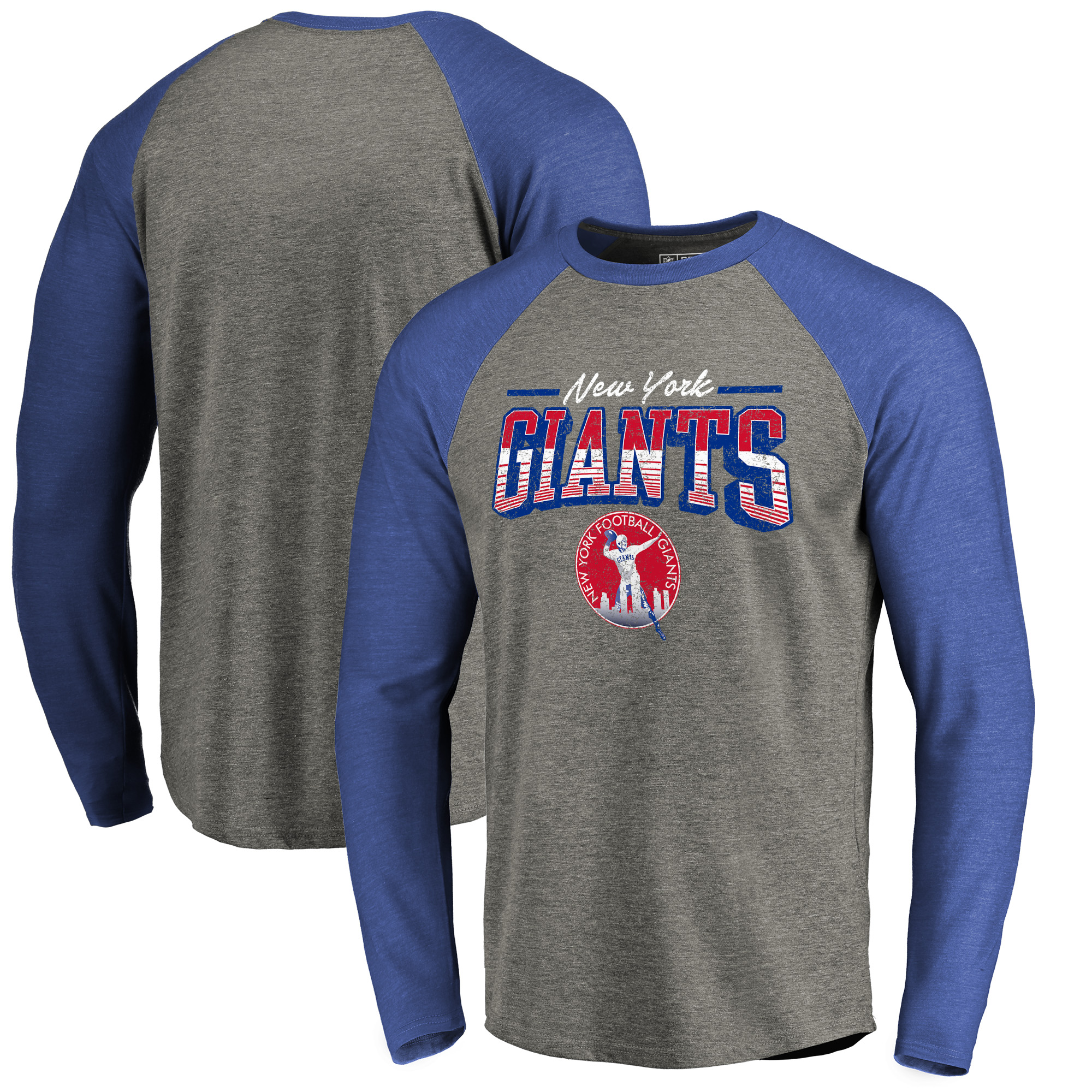 New York Giants NFL Pro Line by Fanatics Branded Throwback Collection Season Ticket Long Sleeve Tri-Blend Raglan T-Shirt - Heathered Gray/Royal