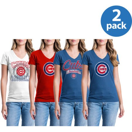 Chicago Cubs Womens Short Sleeve Graphic Tee, 2 Pack, Your Choice by