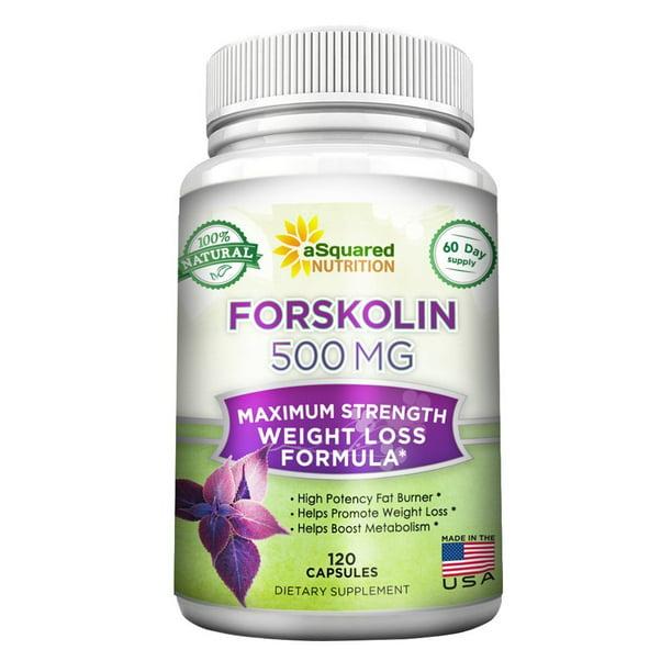 aSquared Nutrition 100% Natural Forskolin 500mg Max Strength - 120 Capsules - Forskolin Extract Supplement for Weight Loss, Coleus Forskohlii Root 20% Forskolin Diet Pills