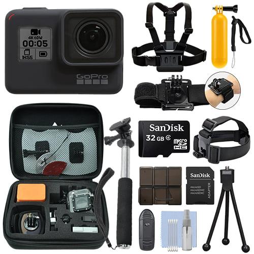 GoPro HERO7 Black 12 MP Waterproof 4K Camera Camcorder + 32GB Action Bundle