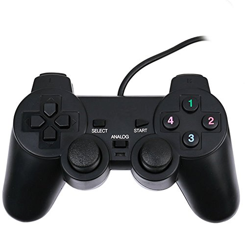 Simply Silver New Black USB Dual Vibration Wired Game Controller Pad Gamepad Joypad PC Laptop Unbranded