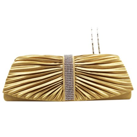 Lively Pleated Gold Colored Rhinestone Sequence Cocktail Purse