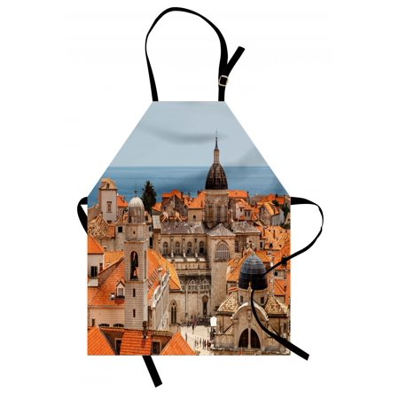 European Apron Aerial View on the Old City of Dubrovnik Walls Medieval Croatia European View, Unisex Kitchen Bib Apron with Adjustable Neck for Cooking Baking Gardening, Multicolor, by (Best Walled Cities In Europe)