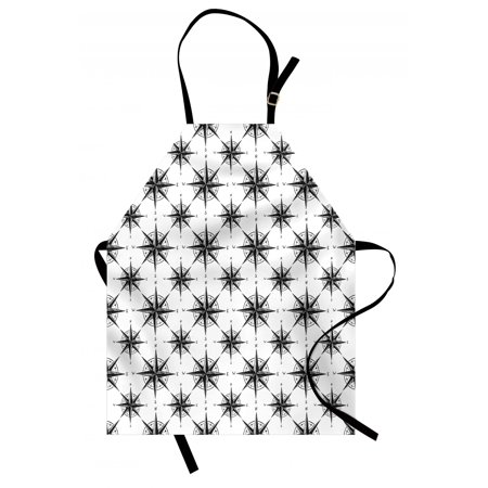 Compass Apron Black and White Sketch Style Windrose Discovering New Places Nautical Elements, Unisex Kitchen Bib Apron with Adjustable Neck for Cooking Baking Gardening, Black White, by Ambesonne ()
