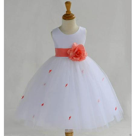 eddf6ee64 Ekidsbridal White Flower Girl Dress Tulle Rosebud Rose flower Weddings  Summer Easter Dress Special Occasions Pageant Toddler Bridesmaid Recital  Communion ...