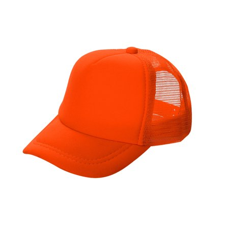 Poly Mesh Cap - Opromo Blank Neon Foam Poly Mesh Trucker Hat Cap, Adjustable Snapback Hi Vis Cap-Neon Orange-kids