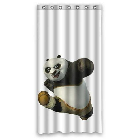 DEYOU Cute Kung Fu Panda Shower Curtain Polyester Fabric Bathroom Size 36x72 Inches