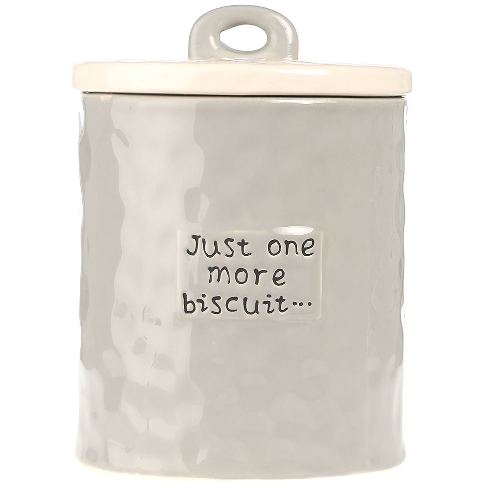 """Just One More Biscuit"" StoNeware Cookie Jar by CREATIVE CO OP"