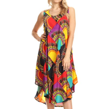 Sakkas Isla Colorful Dashiki Sleeveless Caftan Dress / Cover up - Multi-Dashiki - One Size Regular