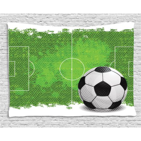 Soccer Tapestry, Grunge Worn Looking Pitch Pattern Football Six Yard Box Vintage Illustration, Wall Hanging for Bedroom Living Room Dorm Decor, 60W X 40L Inches, Green Black White, by Ambesonne ()