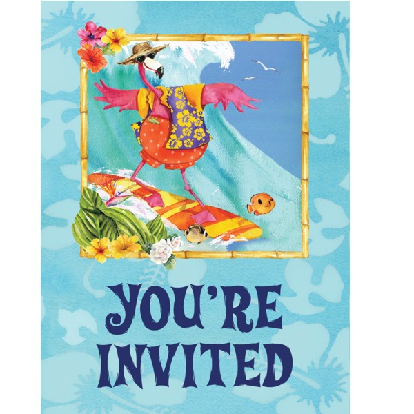 Flamingo Party Postcard Invitations with Envelopes (8 ct)
