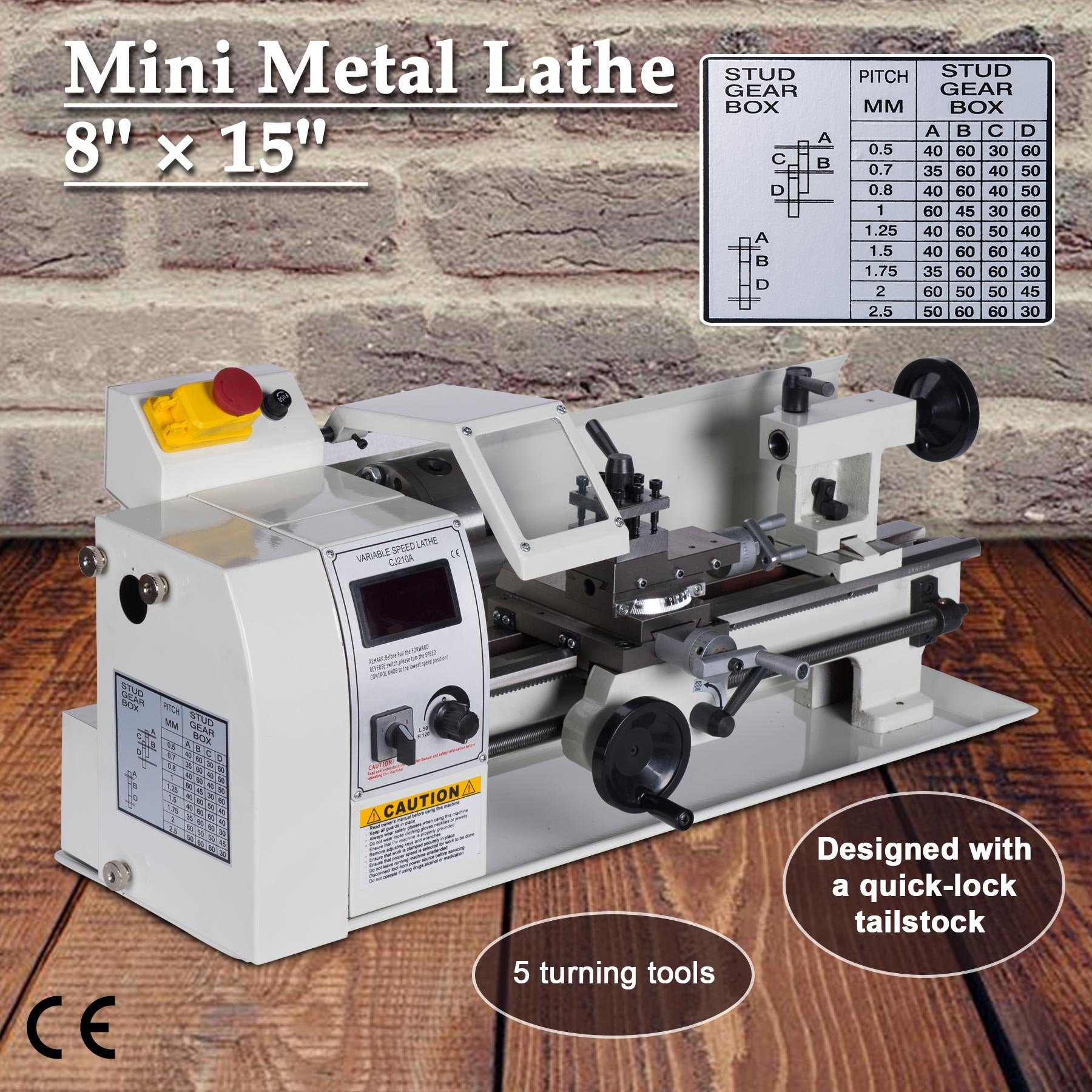 "8"" x 14"" Mini Metal Lathe Machine Variable Speed DC Motor Driven 600W by"