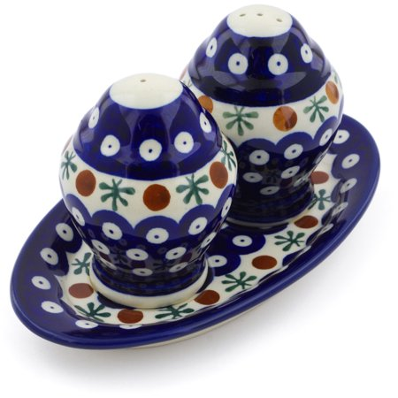 Polish Pottery 7¼-inch Salt and Pepper Set (Mosquito Theme) Hand Painted in Boleslawiec, Poland + Certificate of Authenticity