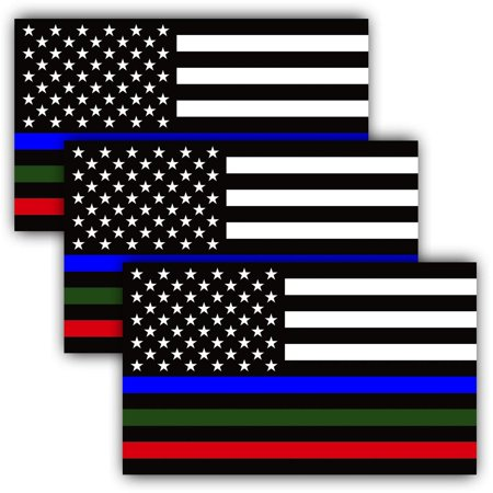 5 X 3 inch Thin Line US Flag Decal - Blue Green and Red Reflective Stripe American Flag Car Stickers - Support Police Military and Fire Officers (3 (Officer Br Sticker)