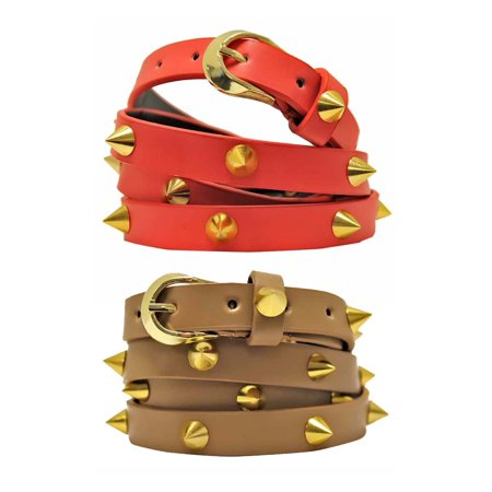 2-Pack Taupe & Coral Skinny Gold Spike Studded -