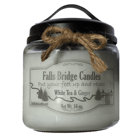 White Tea & Ginger Scented Jar Candle, Medium 16-Ounce Soy Blend, Falls Bridge