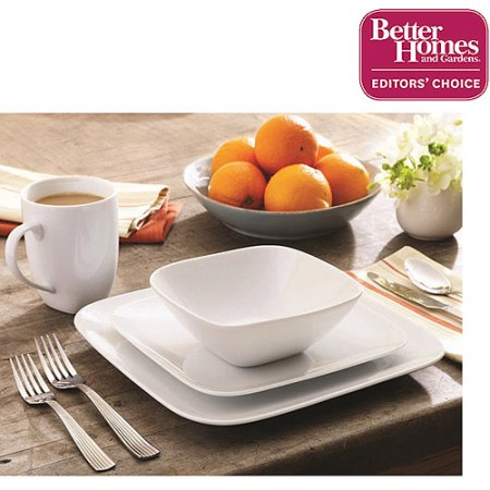 Better Homes and Gardens 16 Piece Porcelain Soft Square Set