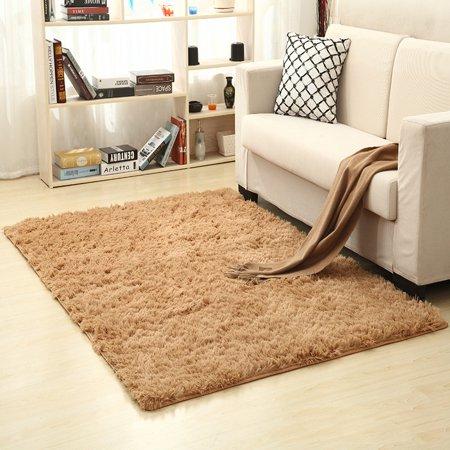 160x250cm Solid Plush Shag Area Rug or Runner Soft Carpet Anti-skid  Floor Rug - image 1 de 2