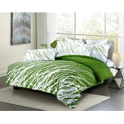 Swanson Beddings Tree Branches 3-Piece Cotton Bedding Set: Duvet Cover and Two Pillow Shams (Green White, Queen)