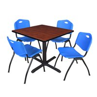 """Cain 36"""" Cherry Square Breakroom Table and 4 'M' Stack Chairs, Multiple Colors"""