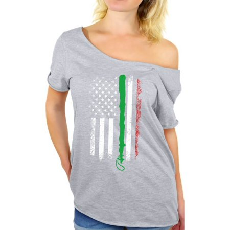 Awkward Styles Irish American Flag Off Shoulder Shirt Cute St. Patrick's Day Tshirt Off The Shoulder for Women Proud Irish American Women's Baggy Tshirt Irish Gifts for Her Vintage Distressed Flag